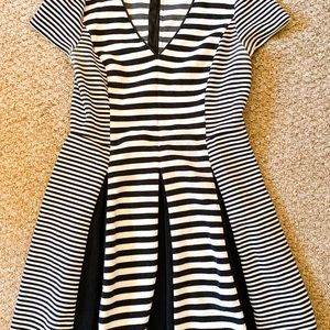 Black and White Striped Flare Dress